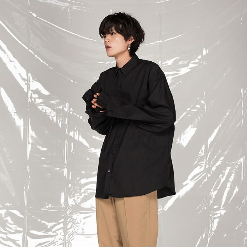 [FLARE UP] [목걸이 증정] Over shirt (FU-112) - Black