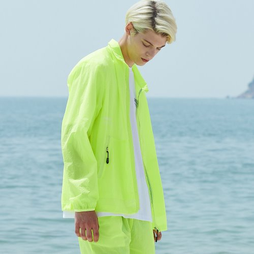 [ANOUTFIT] UNISEX MONO WINDBREAKER JACKET YELLOW GREEN