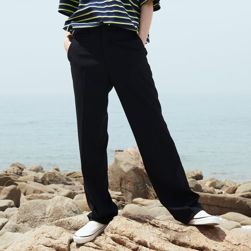 [ANOUTFIT] UNISEX LONG WIDE SLACKS BLACK