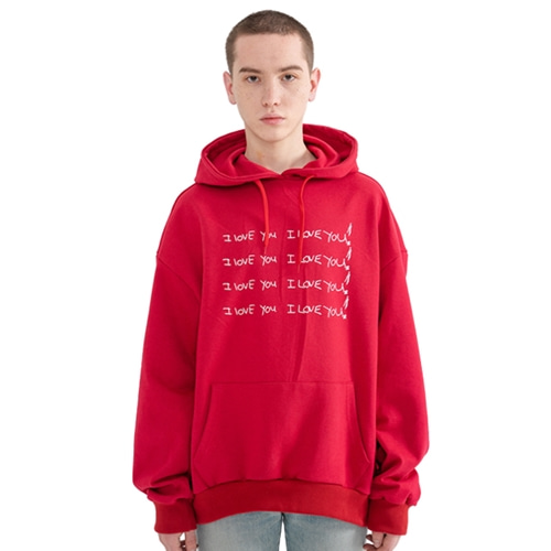 "[Rolling Studios]""I LOVE YOU"" Printed Hoodie Red"