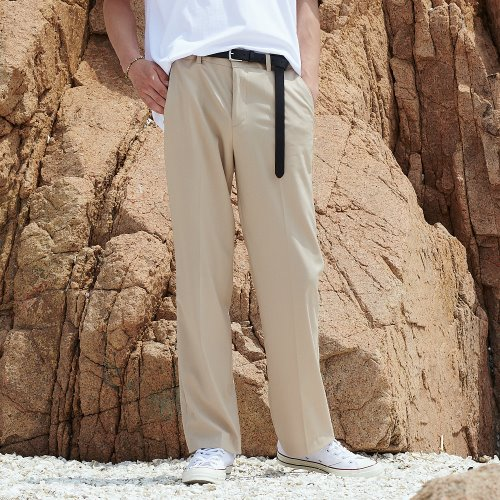 [ANOUTFIT] UNISEX LONG WIDE SLACKS BEIGE