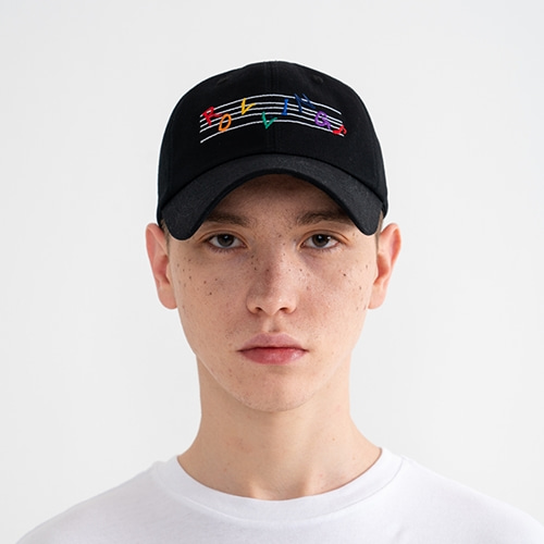 "[Rolling Studios]""RAINBOW MUSIC NOTE"" Logo Embroidered Ball Cap Black"