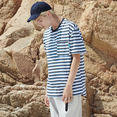 [ANOUTFIT] UNISEX MULTI STRIPE POCKET T-SHIRTS WHITE