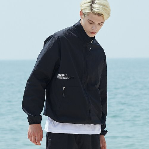 [ANOUTFIT] UNISEX MONO WINDBREAKER JACKET BLACK