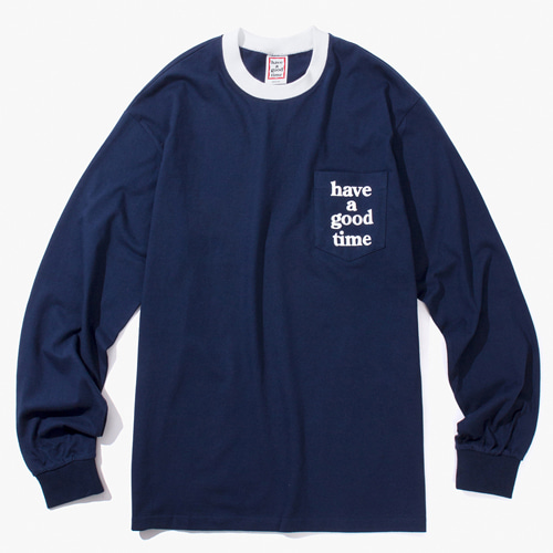 [Have a good time] TRIM POCKET L/S TEE - NAVY/WHITE