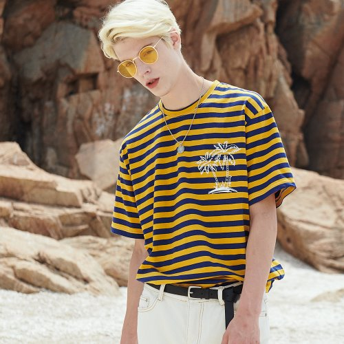 [ANOUTFIT] UNISEX PALM TREE STRIPE T-SHIRTS YELLOW