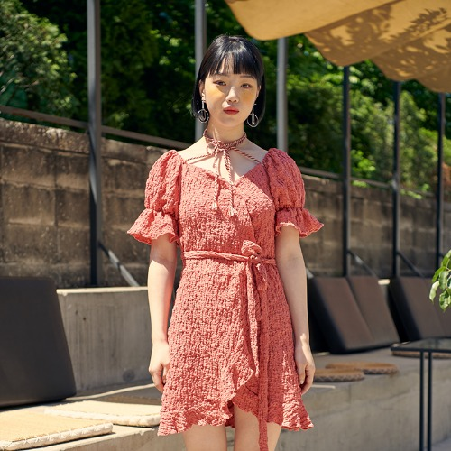 [BLUE PIE] Wrinkled Cotton Strap Onepiece - PINK