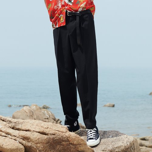 [ANOUTFIT] UNISEX SEMI TAPERED SLACKS BLACK