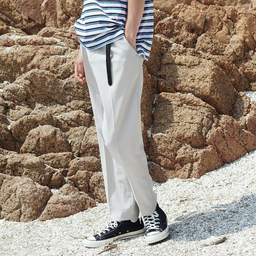 [ANOUTFIT] UNISEX SEMI TAPERED SLACKS BEIGE