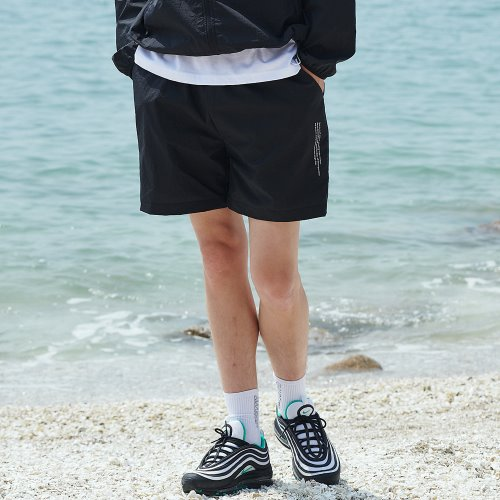 [ANOUTFIT] UNISEX MONO SHORT PANTS BLACK