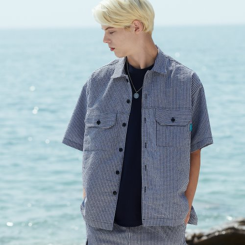 [ANOUTFIT] UNISEX HALF CHECK SHIRTS JACKET BLACK
