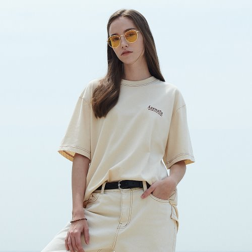[ANOUTFIT] UNISEX SIGNATURE STITCH T-SHIRTS CREAM