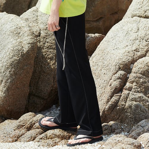 [ANOUTFIT] UNISEX LONG STITCH WIDE SLACKS BLACK
