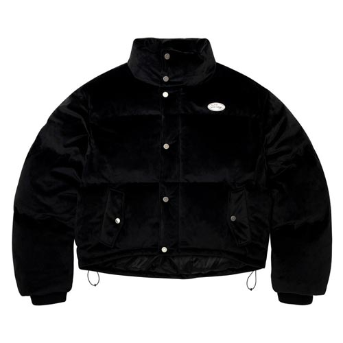 [NSTK] FANCY VELOUR SHORT DOWN JACKET BLACK (NF18A005H)