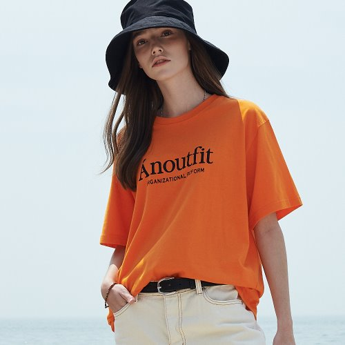 [ANOUTFIT] UNISEX SIGNATURE LOGO T-SHIRTS ORANGE
