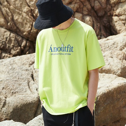 [ANOUTFIT] UNISEX SIGNATURE LOGO T-SHIRTS YELLOW GREEN