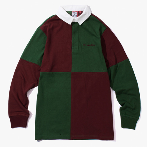 [Have a good time] COLOR BLOCKED RUGBY SHIRT - WINE/DARKGREEN