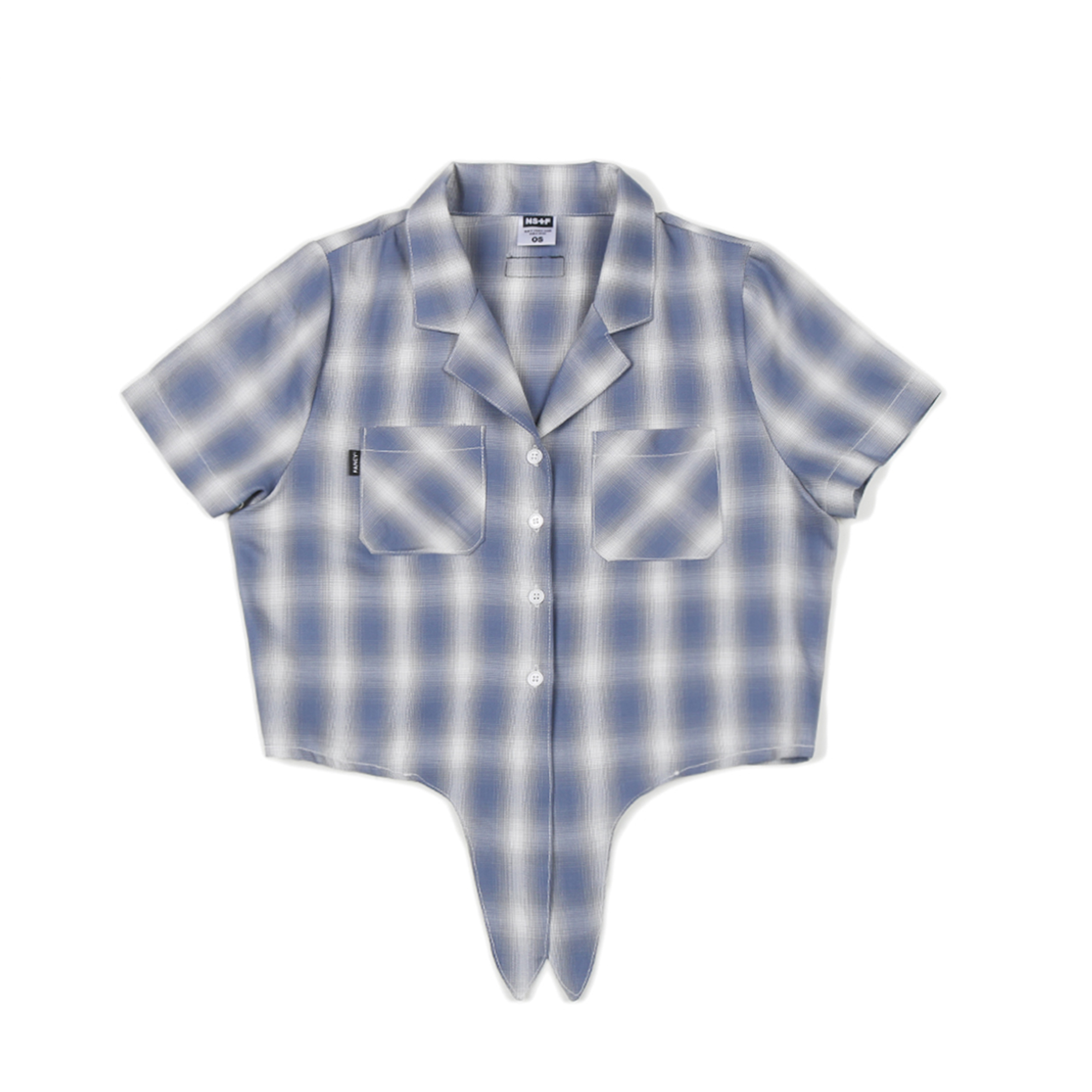 [NF] FANCY CHECK CROP SHIRTS NAVY (NF19S075H)