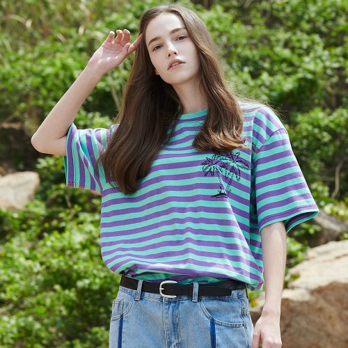 [ANOUTFIT] UNISEX PALM TREE STRIPE T-SHIRTS PURPLE