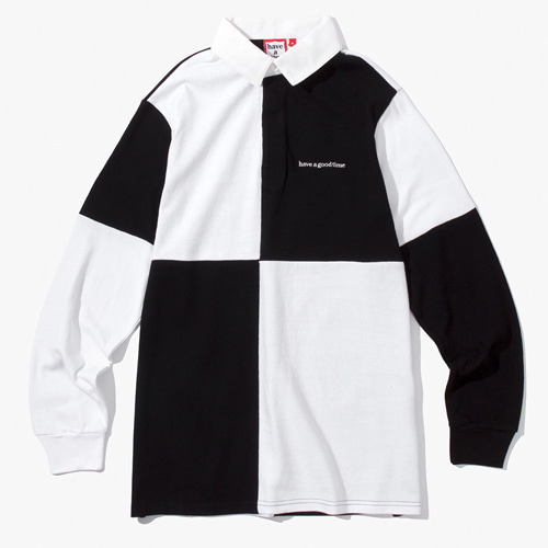 [Have a good time] COLOR BLOCKED RUGBY SHIRT - WHITE/BLACK