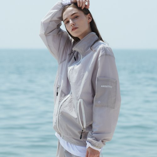 [ANOUTFIT] UNISEX MONO WINDBREAKER JACKET GREY