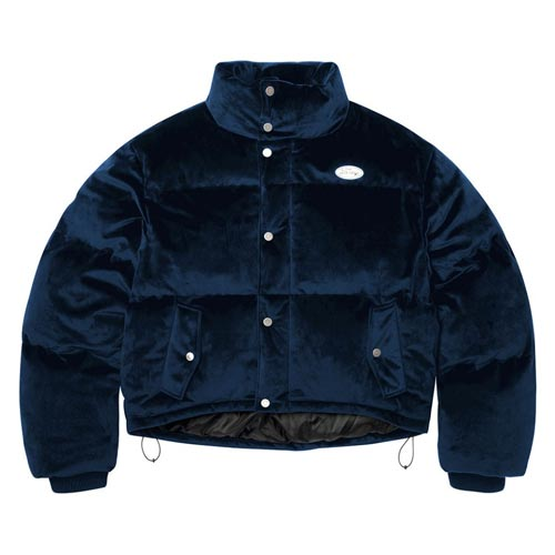 [NSTK] FANCY VELOUR SHORT DOWN JACKET NAVY (NF18A005H)