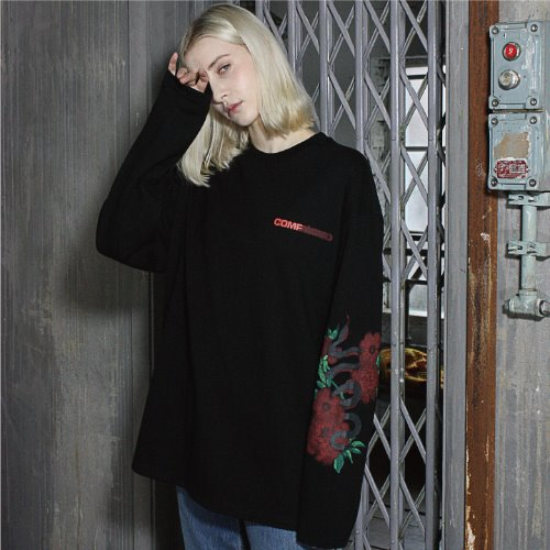 [compàgno]LONGSLEEVE Snake painting LOGO TEE black