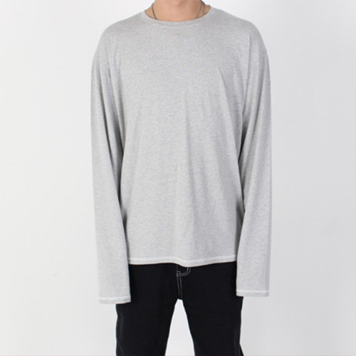 [Burj Surtr] Stitch Long T-Shirt - Gray