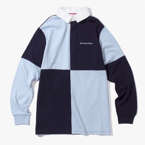 [Have a good time] COLOR BLOCKED RUGBY SHIRT - NAVY/BLUE