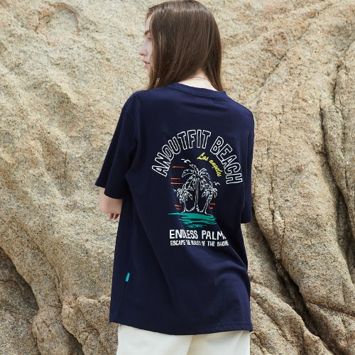 [ANOUTFIT] UNISEX PALM TREE HALF T-SHIRTS NAVY