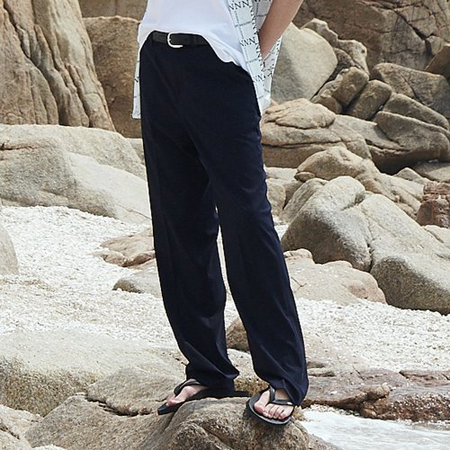[ANOUTFIT] UNISEX LONG WIDE SLACKS NAVY