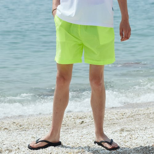 [ANOUTFIT] UNISEX MONO SHORT PANTS YELLOW GREEN