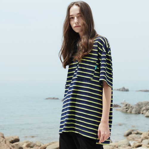 [ANOUTFIT] UNISEX MULTI STRIPE POCKET T-SHIRTS NAVY