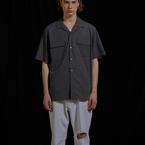 [viva studio] TWO POCKET SHIRTS IS [BLACK]
