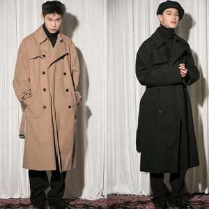 [FLAREUP] Over trench coat (FL-012) - Black / Beige