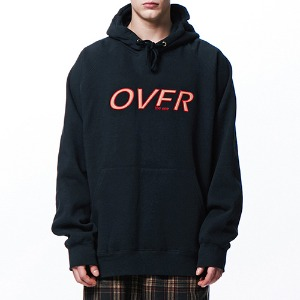 [OVERTHEONE][037] OVER LOGO RAGLAN BOXY HOODIE (BLACK)