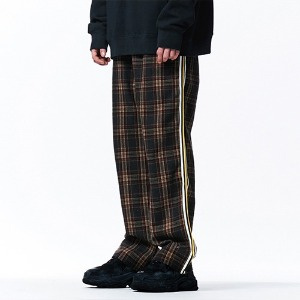 [OVERTHEONE][113]CHECK PATTERN SIDE LINE PANTS(BROWN)