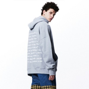 [OVERTHEONE][054] BACK MESSAGE BOXY HOODIE (GRAY)