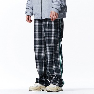 [OVERTHEONE][113]CHECK PATTERN SIDE LINE PANTS(GRAY)