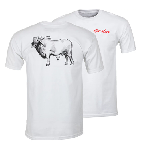 [ANTIHERO] COW BACKSIDE S/S T-Shirt WHITE w/ BLACK & RED Print 51020369