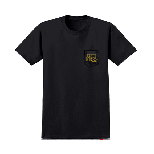 [ANTIHERO] OUTLINE HERO S/S Pocket T-Shirt BLACK w/ YELLOW Print 51020235B