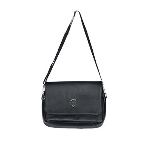 [OY] LOGO LEATHER CROSS BAG - BLACK