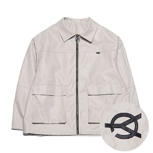 [OY] LEATHER JACKET - BEIGE
