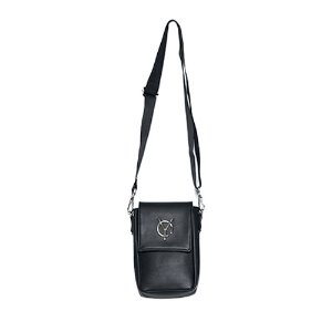 [OY] LOGO LEATHER POUCH BAG - BLACK