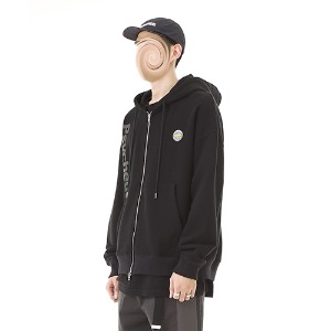 [RENDEZVOUZ] PSYCHE AURORA HOODIE ZIP UP BLACK