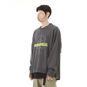 [RENDEZVOUZ] GRAPHIC LOGO CREWNECK LONG SLEEVE CHARCOAL