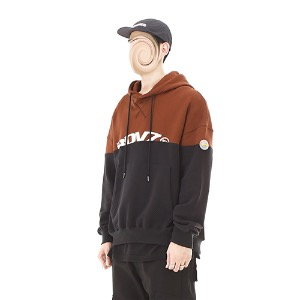 [RENDEZVOUZ] TWO TONE BLOCK HOODIE BROWN/BLACK