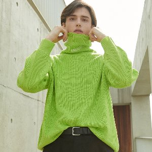 [ANOUTFIT] UNISEX OVERFIT KNIT TURTLENECK YELLOW GREEN