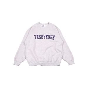 [YESEYESEE] Paisley Logo Sweatshirts Light Gray