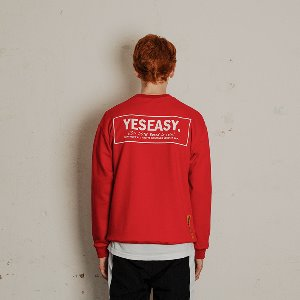 [YESEASY]  BOX LOGO SWEATSHIRT - RED